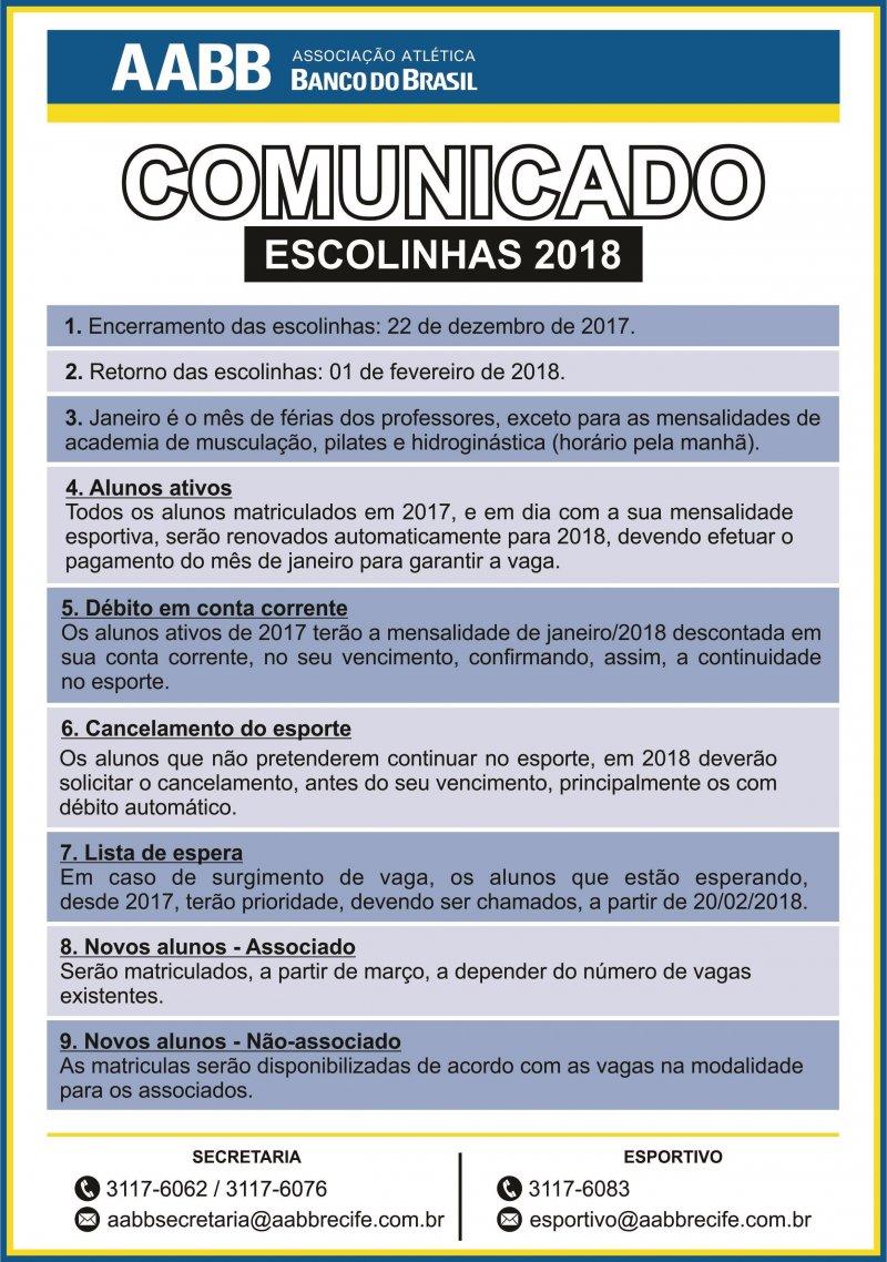 Valores das Mensalidades e Escolinhas 2018!